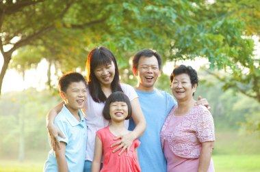 Happy outdoor family