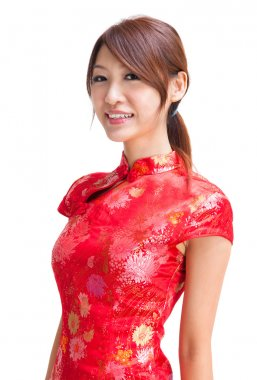 Abundance chinese girl in traditional Chinese cheongsam, isolated on white background stock vector