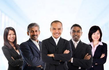 Multiracial Asian business team