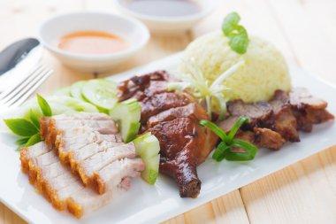 Roasted duck, roasted pork crispy siu yuk and Charsiu Chinese st