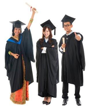 Full body group of multi races university student in graduation