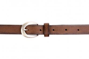 slim leather belt isolated on white