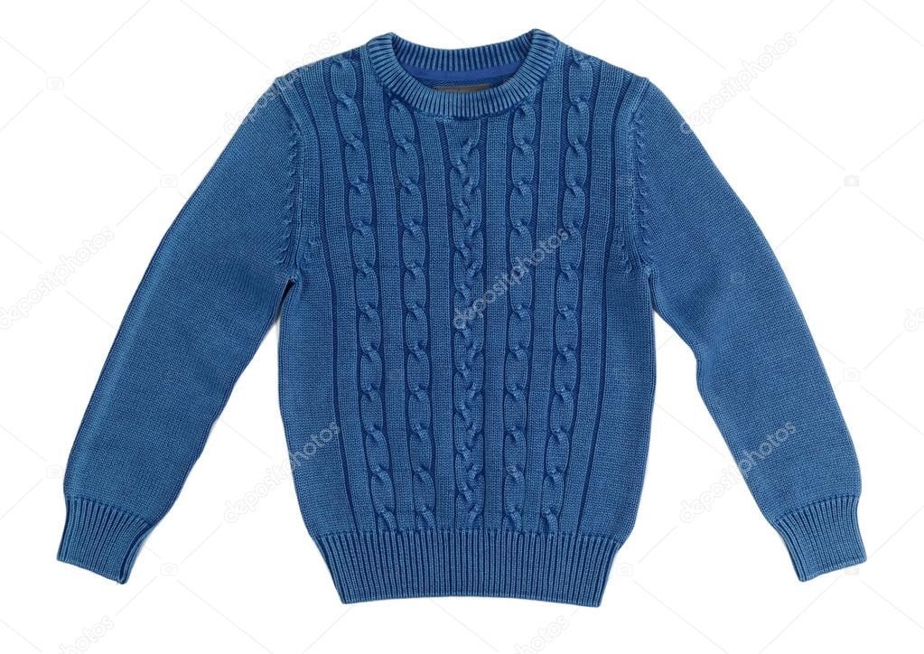 ef11dd7710fb Μπλε θερμό πλεκτά πουλόβερ με ένα μοτίβο. απομονωθεί σε λευκό — Εικόνα από  Ruslan