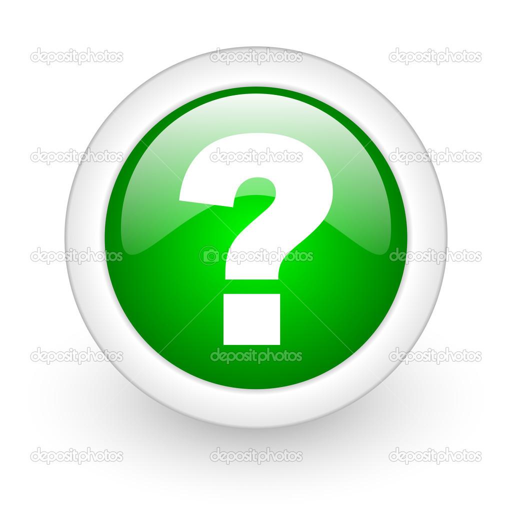 Point d'interrogation cercle vert icône web brillant sur ...