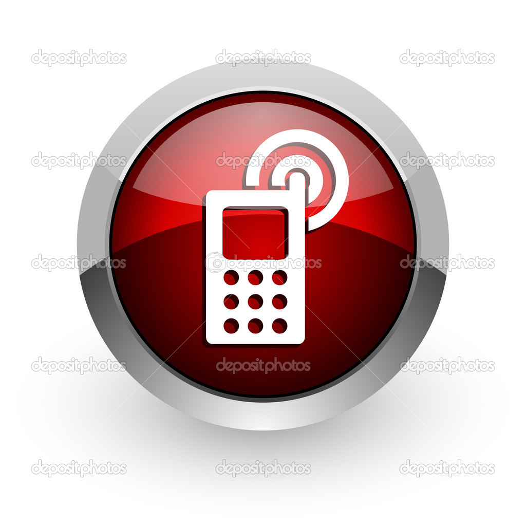 cellphone red circle web glossy icon — Stock Photo