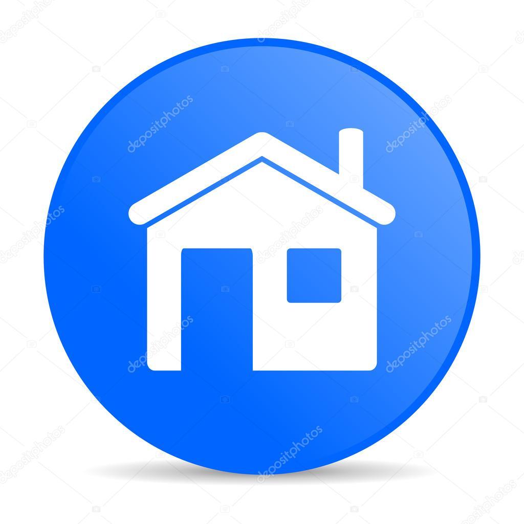 Icono brillante c rculo azul casa web foto de stock for Casa piscitelli pagina web