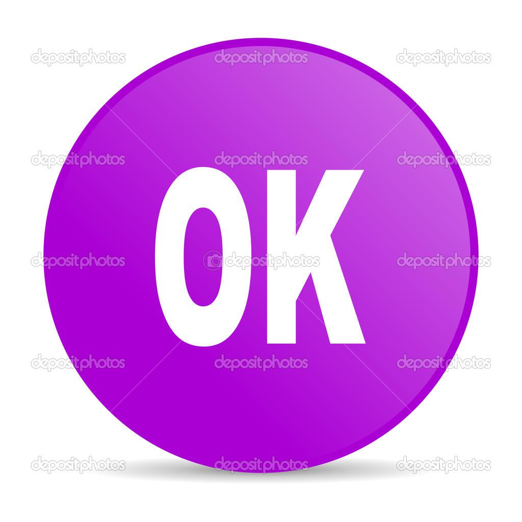 OK icône brillant de web de cercle violet — Photographie