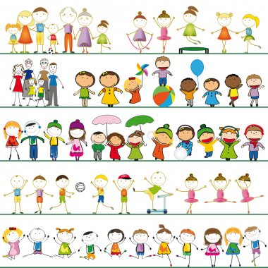 Many sets of boys, girls and family stock vector