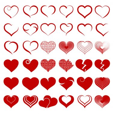 Set of symbol heart, vector