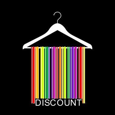 Colorful DISCOUNT barcode clothes hanger, vector