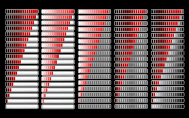 Red different loader progress bar, vector clip art vector