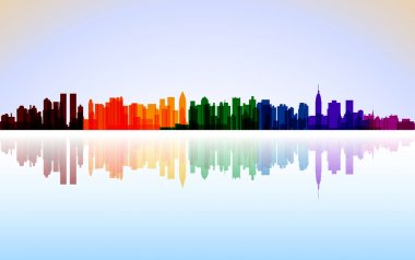Colorful City New York panorama, vector