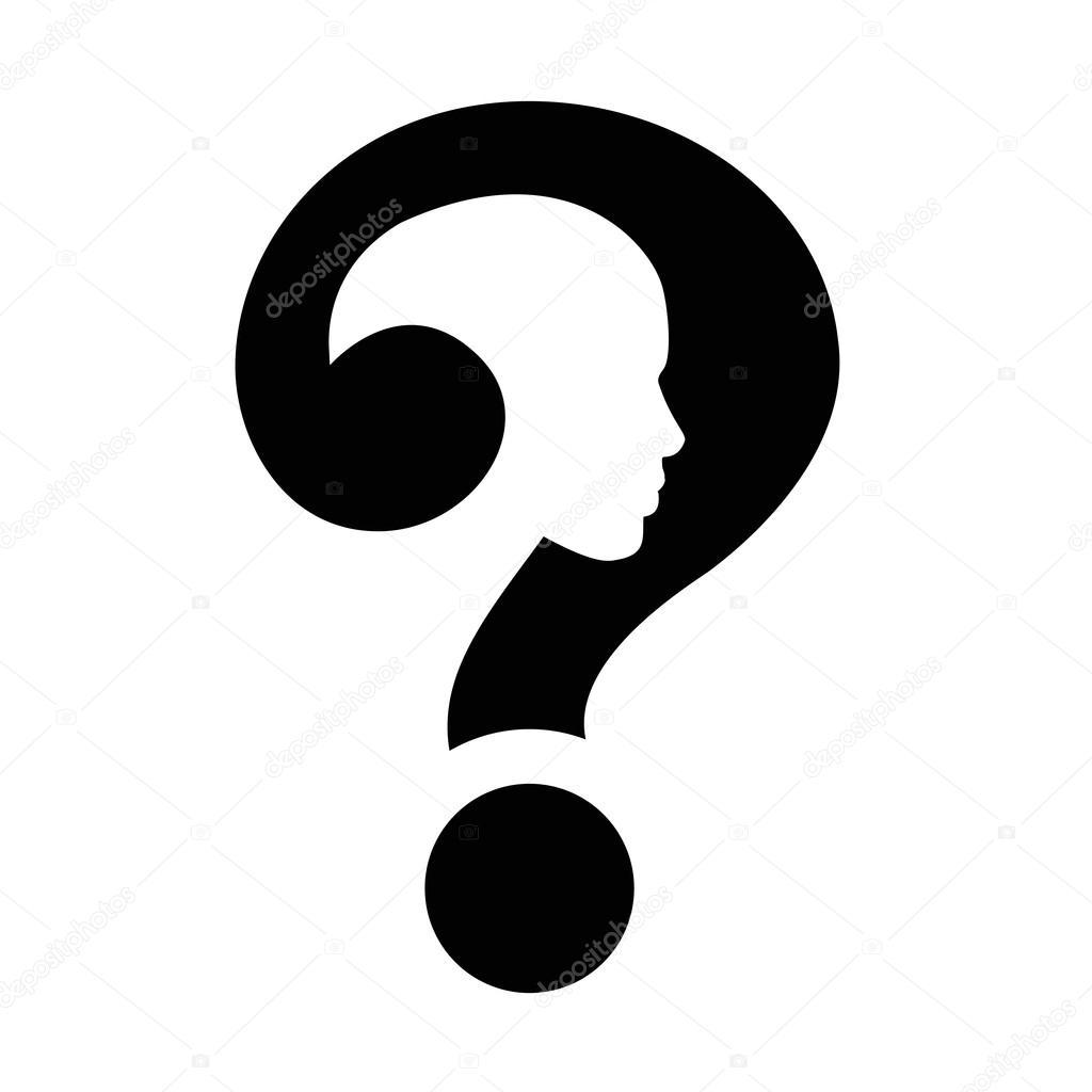 question mark human head symbol vector � stock vector