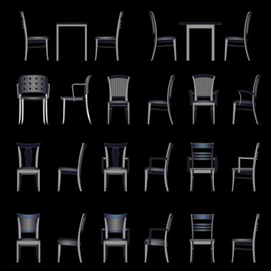 Set of modern chair, vector