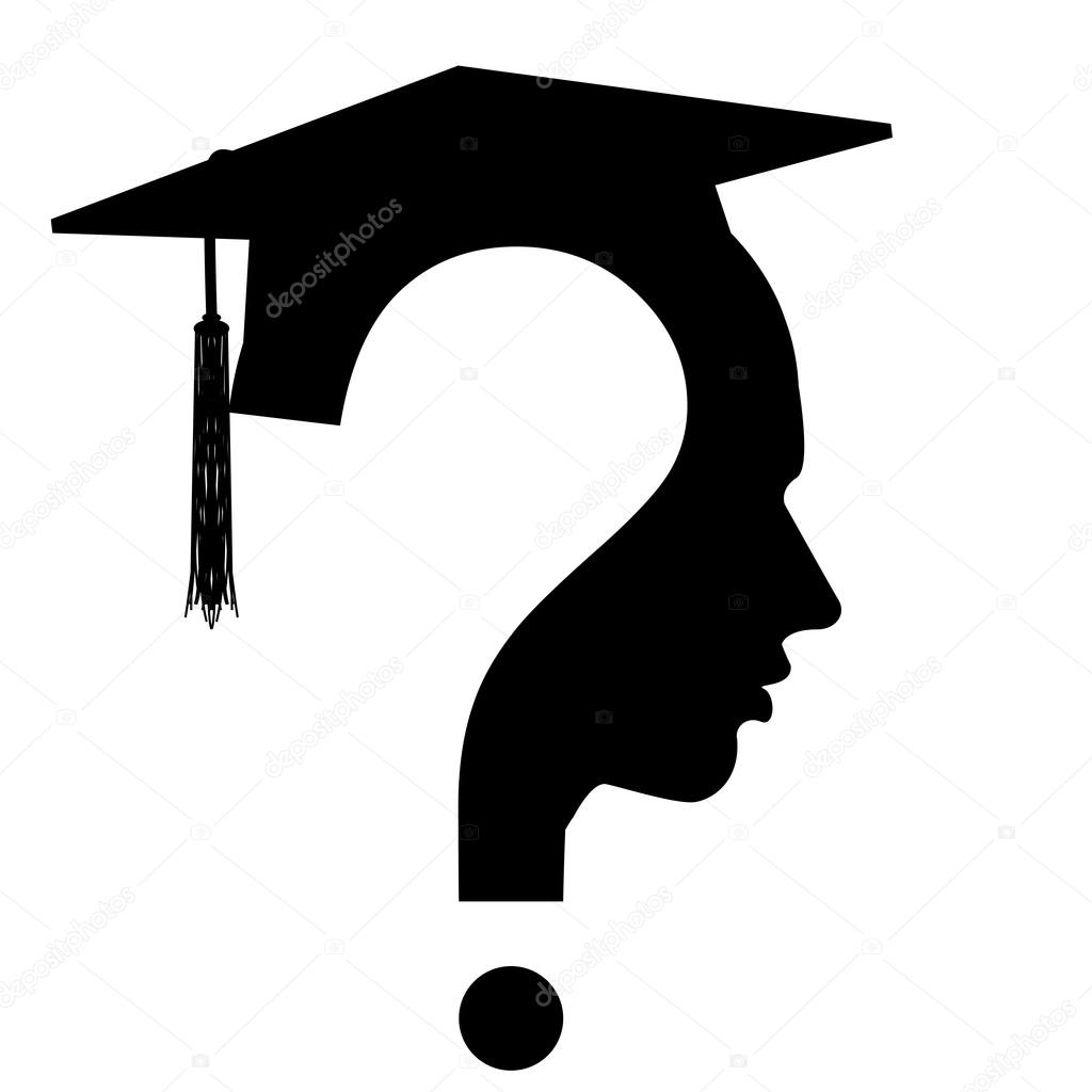question mark head with Education Cup symbol, vector