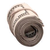 banconote da cento dollari arrotolato isolato su bianco