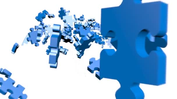 Blue Puzzle pieces assembling in head
