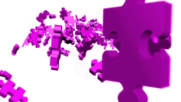 Purple Puzzle pieces assembling in head