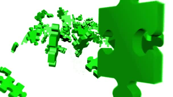 Green Puzzle pieces assembling in head