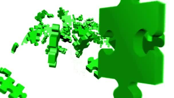 zelené dílky montáž v hlavě