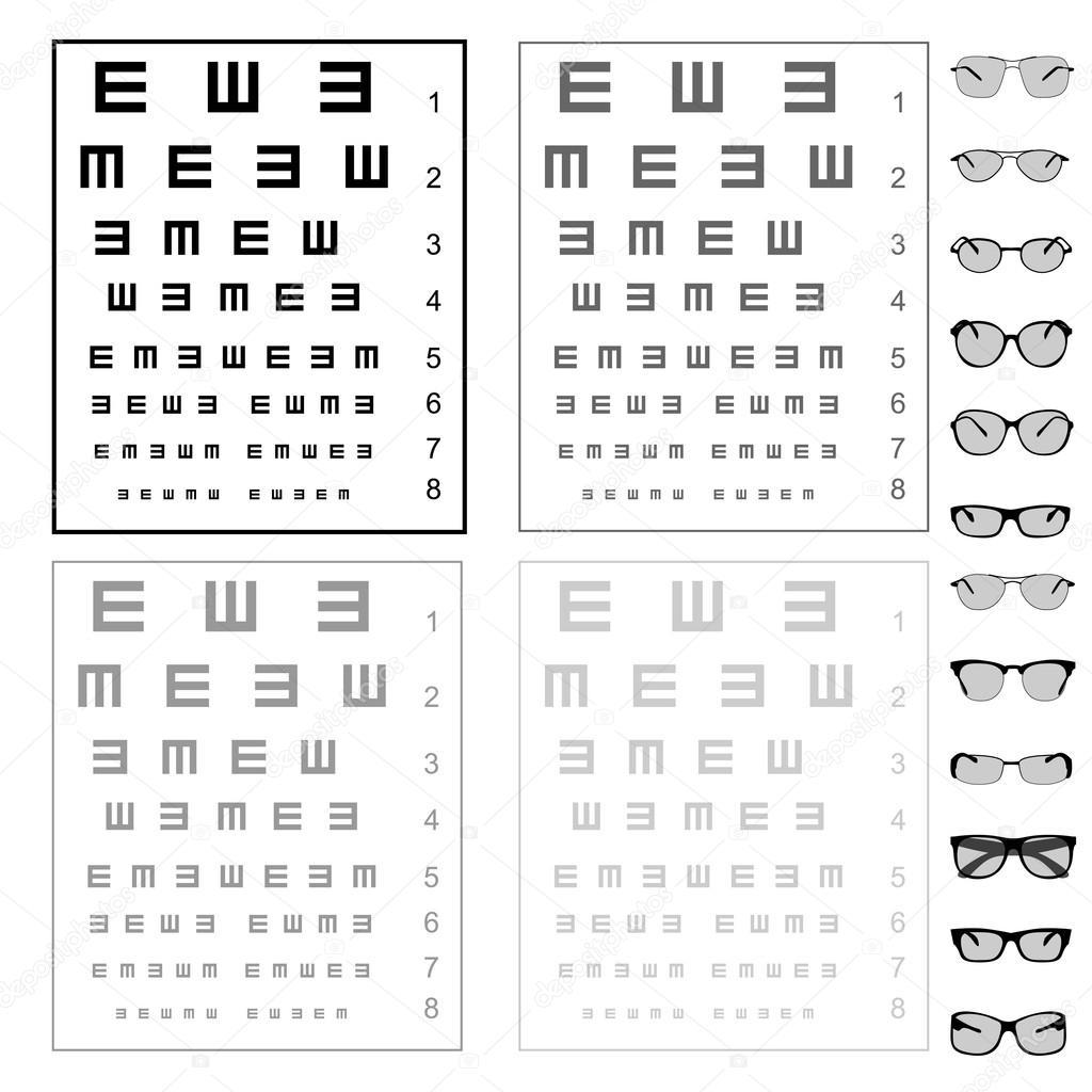 test graphique avec des lunettes sur les yeux vector image vectorielle ngaga35 31027895. Black Bedroom Furniture Sets. Home Design Ideas