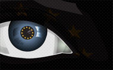 greedy eye with euro sign, background