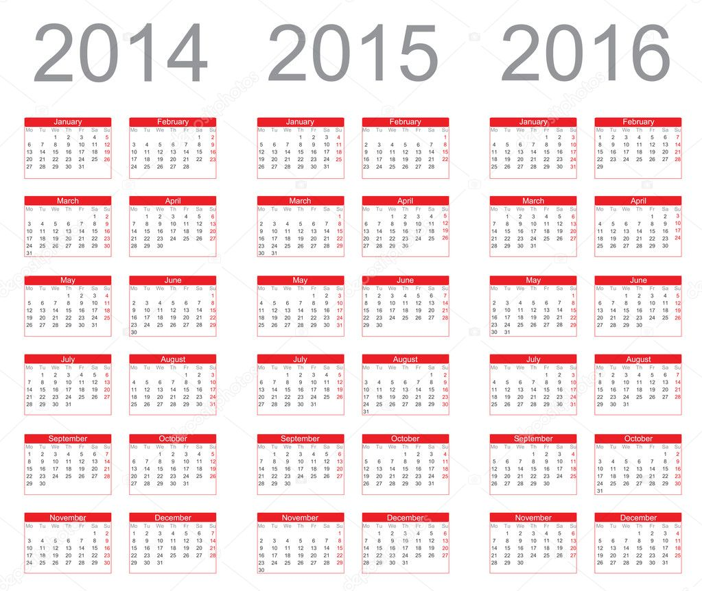 Calendario Anno 2014.Semplice Calendario Anno 2014 2015 2016 Vettoriali Stock