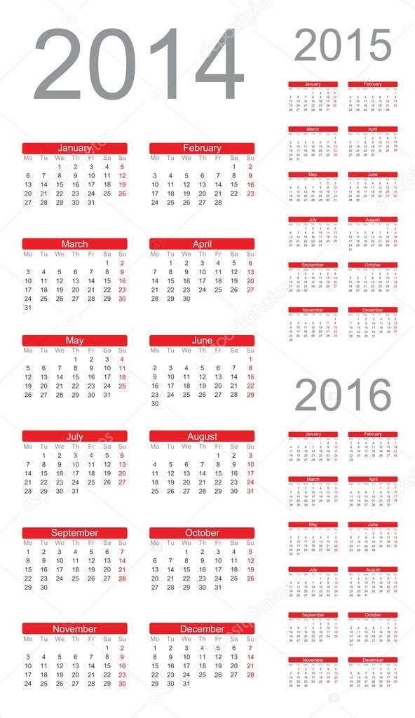 Calendario Anno 2014.Semplice Calendario Anno 2014 2015 2016 Vettoriale