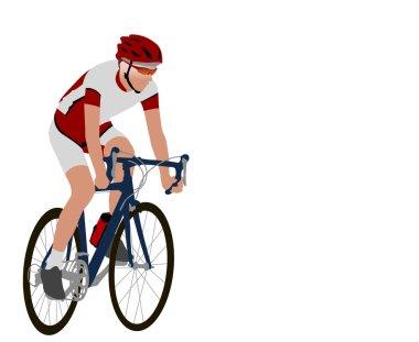 Racing bicyclist illustration