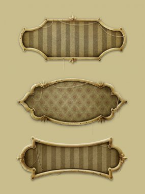 Three gold frames in vintage style.