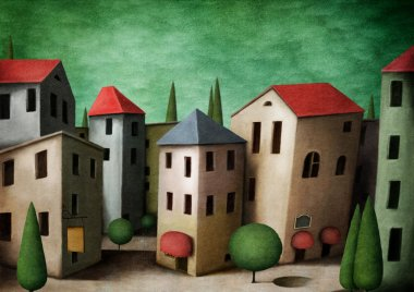 """Картина, постер, плакат, фотообои """"город, поздравительная открытка или иллюстрация ."""", артикул 13891716"""