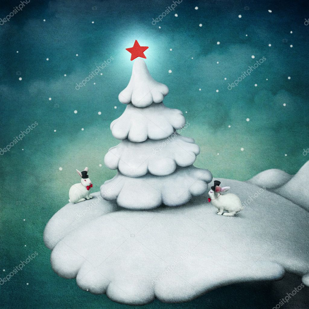 Snowy scenery fairytale hill with a christmas tree with a star and two rabbits in hats