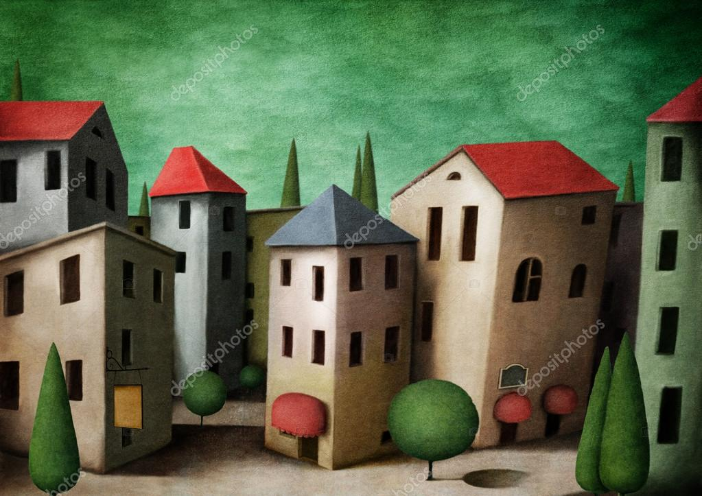 Town, greeting card or illustration.