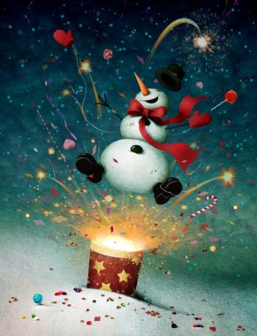 Holiday greeting card or illustration with cheerful snowman and fireworks