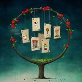 ilustrace pohádky Alenka v říši divů s kulatým strom a karty