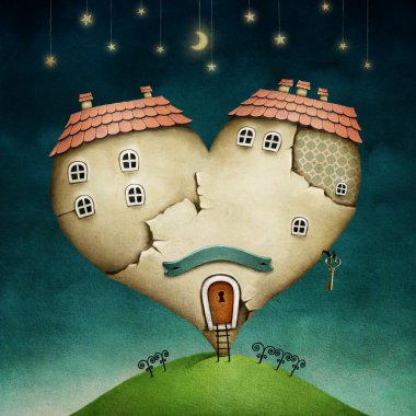 Illustration or poster with house in shape of heart.