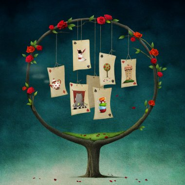 Illustration of fairy tale Alice in Wonderland with round tree and cards.