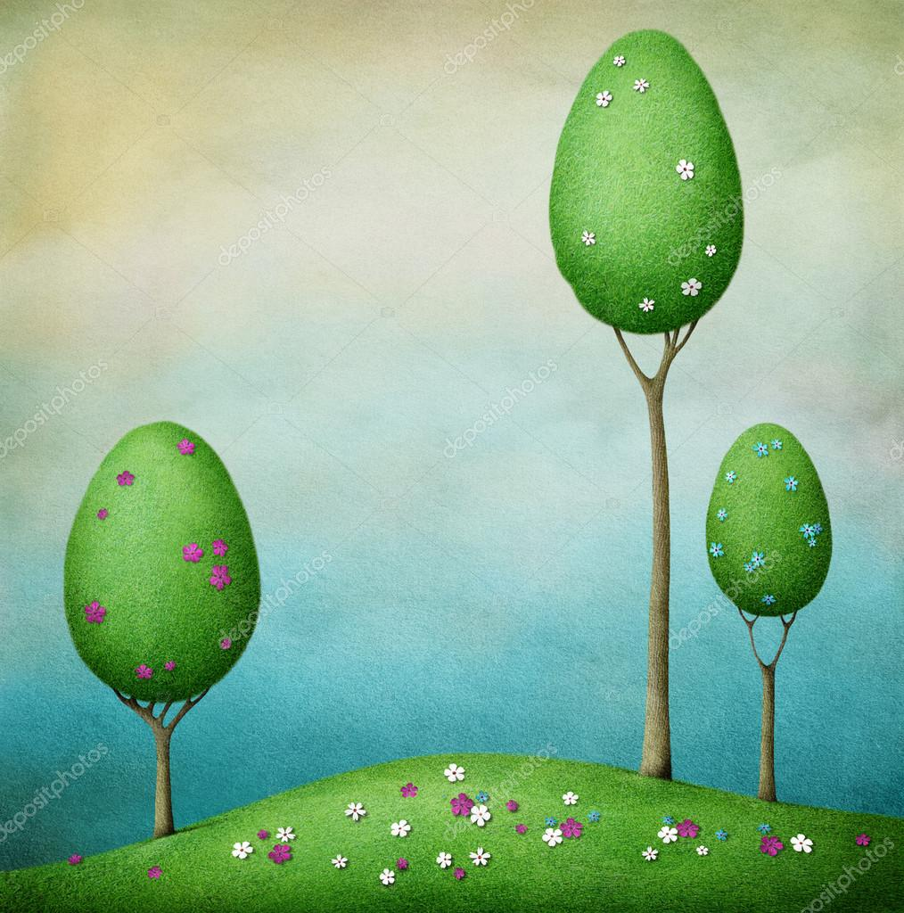 Background with flowering trees eggs and lawn.