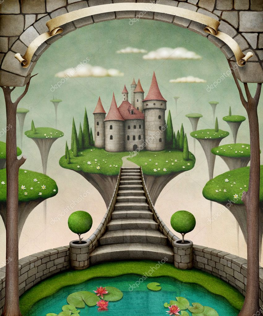 Beautiful fairy background or illustration with hanging meadows and castle.