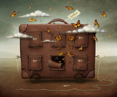 Wandering Suitcase, conceptual illustration or poster.