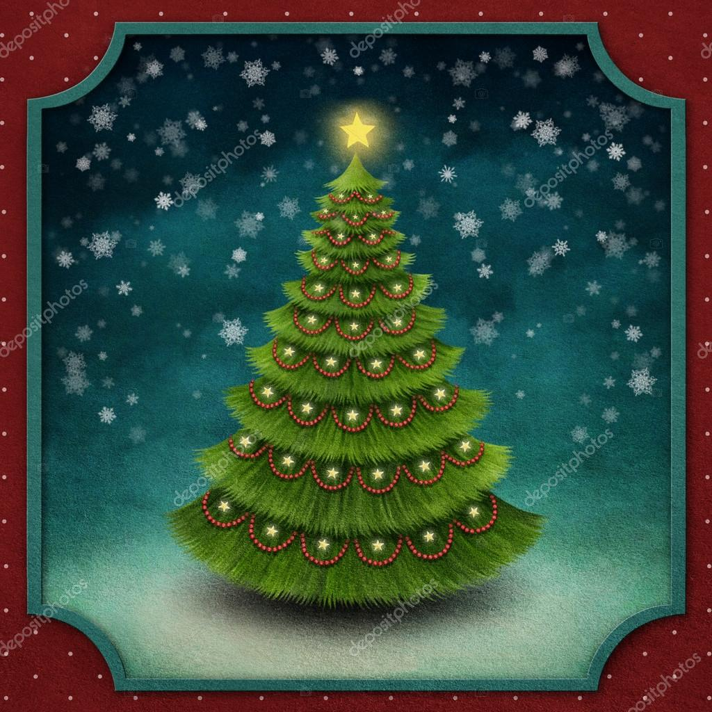 Christmas background with decorated Christmas tree.