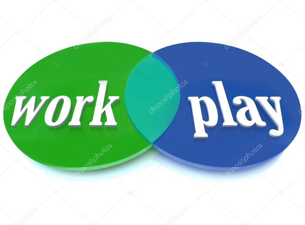 Work Play Venn Diagram Intersecting Circles Fun Enjoyment Stock