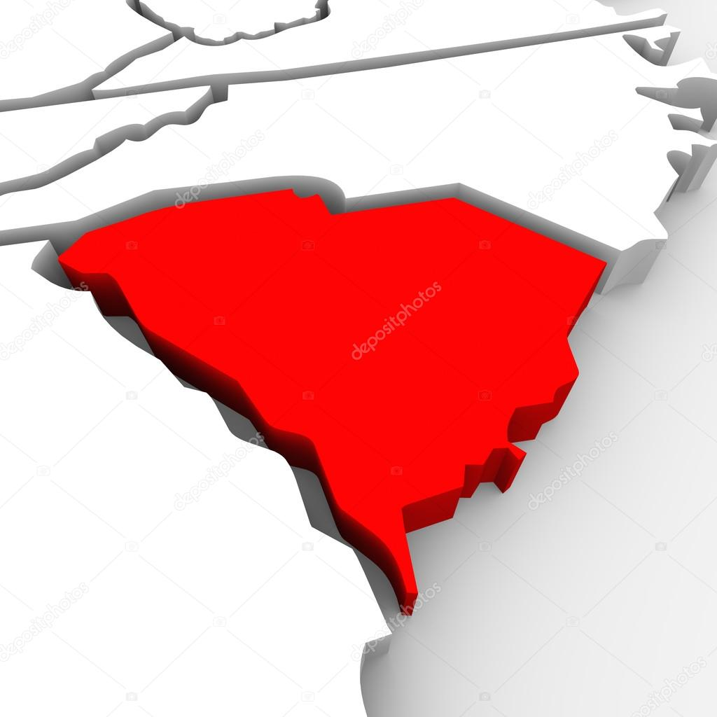 South Carolina Red Abstract D State Map United States America - South carolina on us map