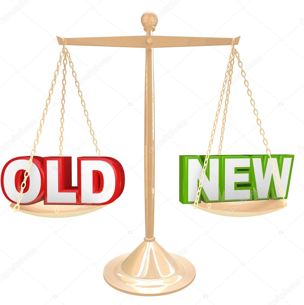 Old vs new words on balance scale weighing comparison stock old vs new words on balance scale weighing comparison stock photo biocorpaavc Choice Image