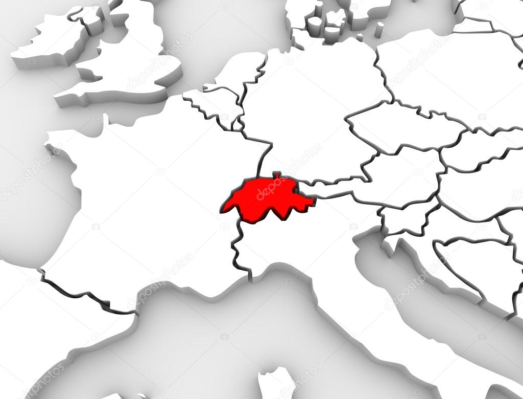 Switzerland country abstract map europe countries stock photo an abstract 3d map of europe the continent and several countries with switzerland highlighted in red photo by iqoncept gumiabroncs Images