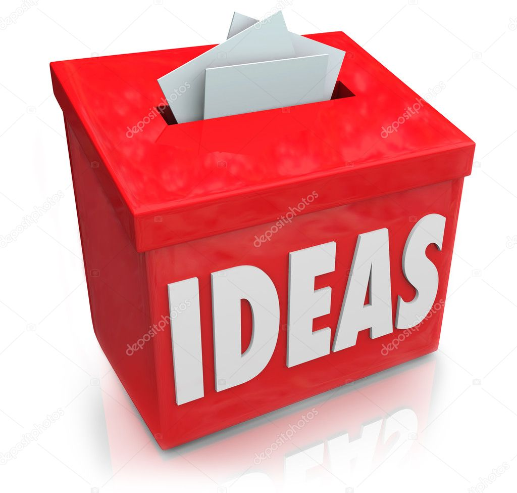 ideas creative innovation suggestion box collecting thoughts ide