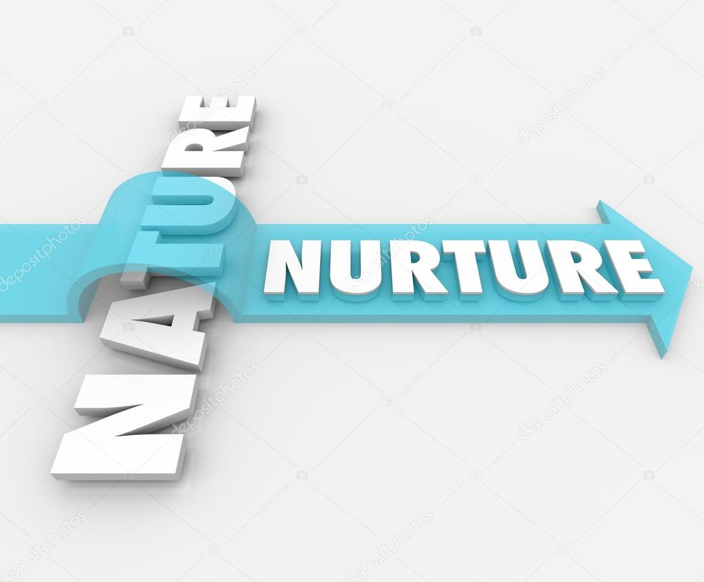 Nurture vs nature arrow over word psychology stock photo iqoncept 25225367 - Nurture images download ...