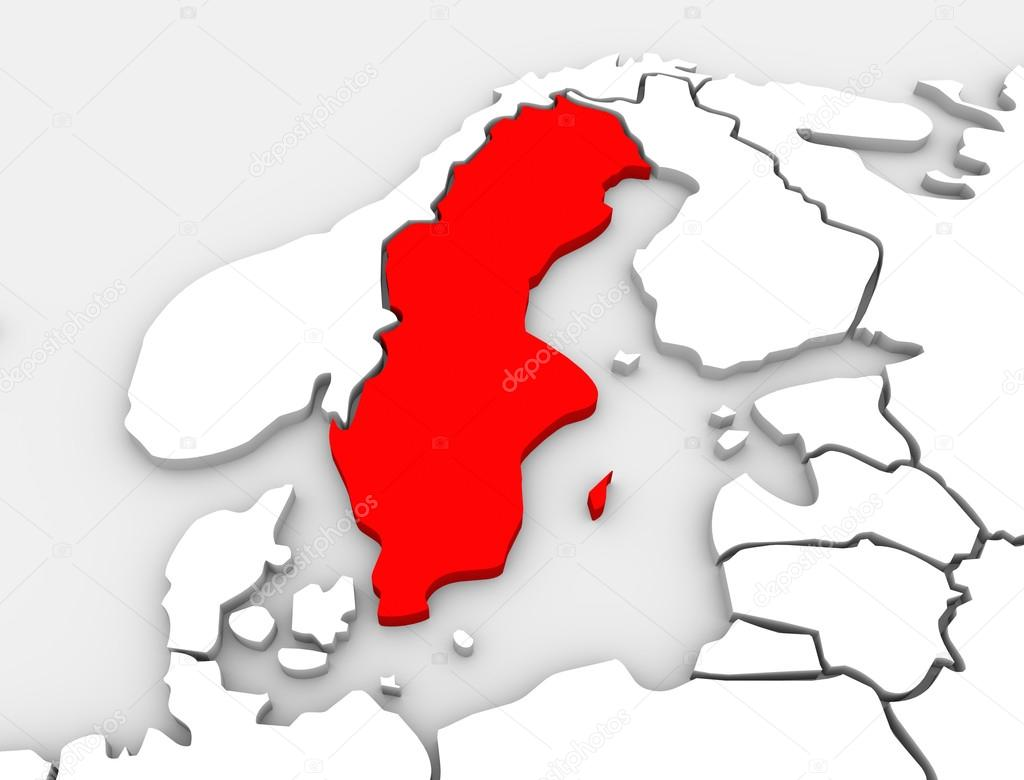 Sweden Country Map D Illustrated Northern Europe Continent - Sweden map 3d