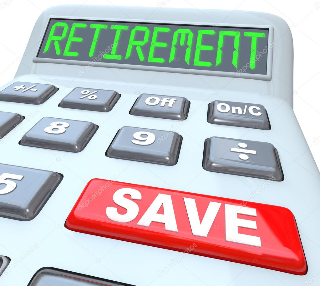 save for retirement words on calculator financial security stock