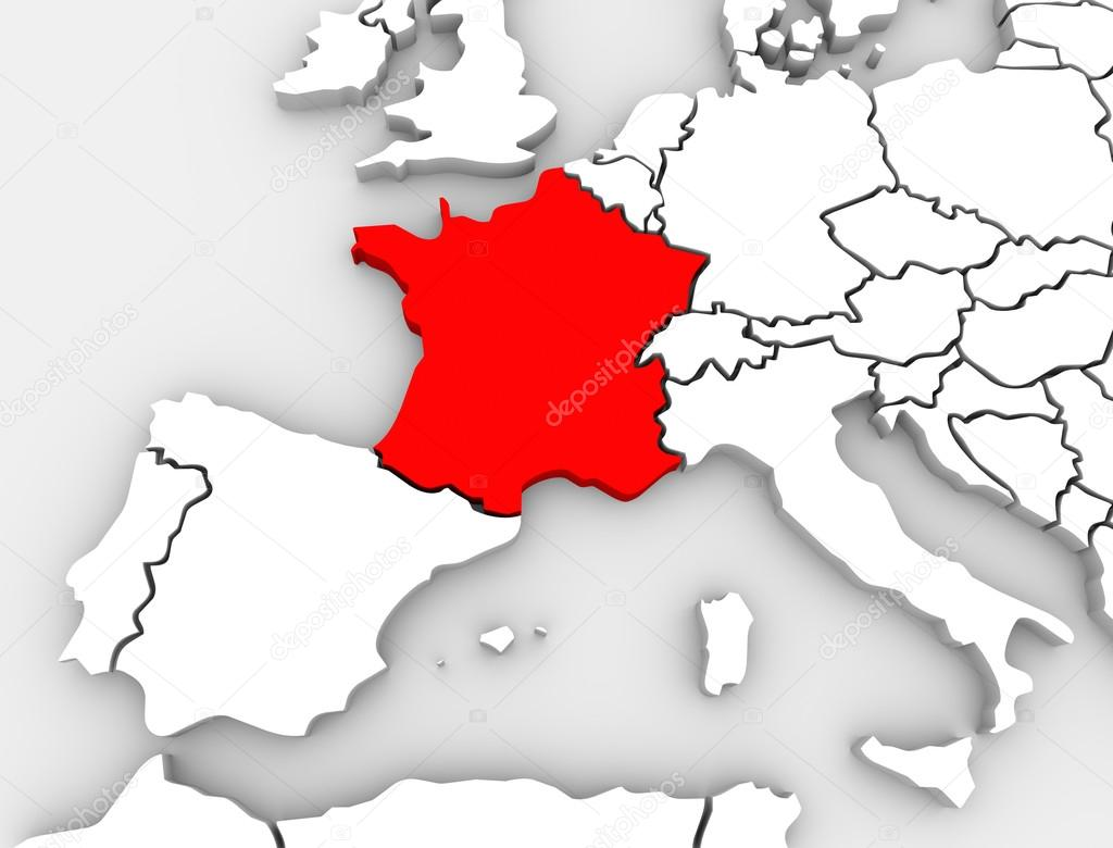 France abstract 3d map europe continent stock photo iqoncept an abstract 3d map of europe the continent and several countries with france highlighted in red surrounded by spain the united kingdom germany and other gumiabroncs Images
